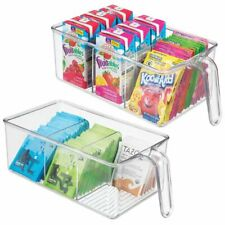 New listing mDesign Kitchen Pantry Cabinet Refrigerator Storage Bin, Medium, 2 Pack - Clear