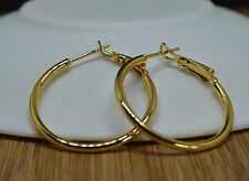 Beautiful Ladies 18k/18ct Yellow Gold Filled Smooth 3cm/30mm Hoop Earrings