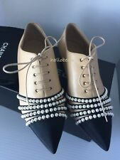 Chanel 16A Beige Leather Black Grosgrain Cap Toe Faux Pearl Lace Up Loafers 36.5