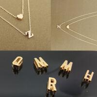 A-Z Lettre Nom Initiale Collier Pendentif Chaîne Femmes Bijoux Fantaisie 2 layer