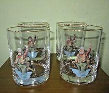 4 Richard E Bishop Ltd. Rocks Cocktail Lowball Glasses Fly Fisherman Fishing