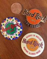 3 Vintage Hard Rock Cafe Metal Lapel Pins L Vegas 1995, Xmas, Drugs Nuclear 1993
