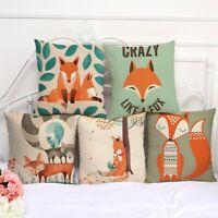 "Cartoon Fox Linen Throw Pillow Case Sofa Car Cushion Cover Home Room Decor 18"""