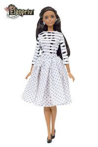ELENPRIV FA outfit#11 printed pullover + polka dot skirt for Barbie dolls