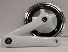 Guarnitura corona Bicicletta Bianco singola 46 denti pedivella bici Bike 170 mm