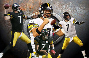 Pittsburgh Steelers  Lithograph print of  Ben Roethlisberger   17 x 11
