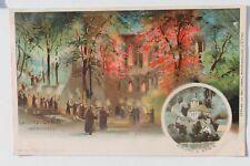 29794 Litho AK Oybin Mönche Mönchszug mit Fackeln, Kirche, um 1900