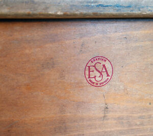 ESA Esavian James Leonard decal sticker for restoration vintage school desk