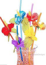 24 Hibiscus Flower Straws Hawaiian Plastic Drink Luau Party Supplies Wedding