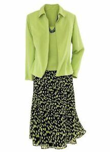 New Draper's & Damon's Dot Dressing Three Piece Skirt Set Green/Black 18
