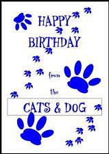 Novità Buon Compleanno Biglietto D'auguri dalla Cats & Dog - 1B-Own Design