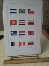 Vintage Print,MERCHANT FLAGS MARITIME COUNTRIES,New International Encyclopedia
