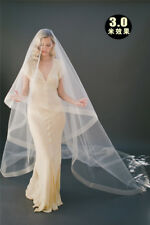Cheap Wedding Veil Bridal Veils With Comb 2 layer Ivory White Champagne Horsehem