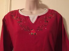 Allyson Whitmore Woman Plus 1X Red 100% Cotton Floral 3/4 Sleeve Knit Top