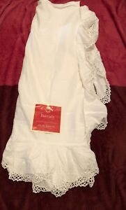 "NOS  Keeco Full Bed Skirt Dust Ruffle White Crochet Handmade 54"" x 76"""