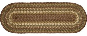"""Tea Cabin Rustic Country Braided Jute Table Runner 13"""" x 36"""" Green Cream & Red"""