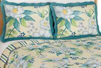 Set Standard Quilted Pillow Shams 2 Magnolia Garden Scalloped Edge Sham Blue New
