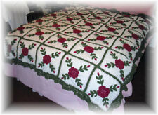 Crocheted Christmas Rose Afghan Throw Bedspread 30 Squares