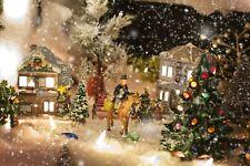 VICTORIAN VILLAGE CHRISTMAS STREET SCENE CANVAS PICTURE PRINT UNFRAMED #C48