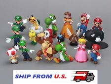 NEW 18 x Mario Bros figure Toy Luigi Yoshi  princess Peach Donkey Kong Toad