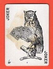 Single Swap Playing Card RARE JOKER #22B OWL BIRD AMERICAN WHIST LEAGUE ANTIQUE