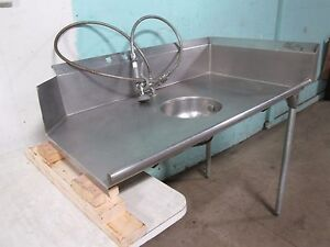 """HD COMMERCIAL SS (nsf) RIGHT SIDE DIRTY 50½""""W DISH WASHING TABLE w/RINSE SPRAYER"""