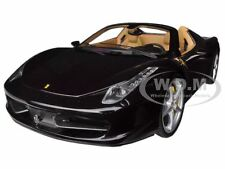 FERRARI 458 SPIDER F1 GLOSSY BLACK ELITE EDITION 1/18 MODEL CAR HOTWHEELS BCJ90