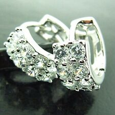 AN248 GENUINE REAL 18K WHITE G/F GOLD DIAMOND SIMULATED RETRO HOOP EARRINGS
