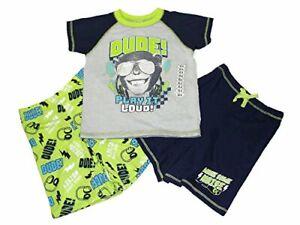 Boy's Music Monkey Chimpanzee 3-Piece Pajama Shorts Set, Size 6