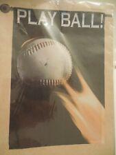 """Play Ball!"" Baseball & Flames, Team Sport, Summer, decorative House flag"