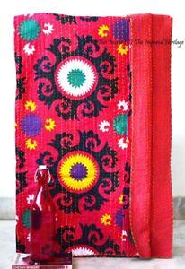 New Indian Art Handmade Cotton Kantha Vintage Twin-Size Blanket-Bedspreads Quilt
