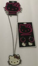 New HELLO KITTY JEWELRY SET Necklace And Earrings Leopard Print Bow.