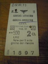 BIGLIETTO TRENO CARTONATO 1973 SAVONA LETIMBRO - GENOVA BRIGNOLE - CEVA 4-230/1