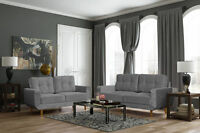 brand new modern aurora 3+2 seater fabric sofa with wooden legs in soft grey
