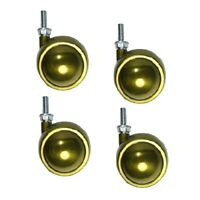 """Set of 4 Swivel Brass Planet Ball Casters 2-1/2"""" with 5/16"""" - 18 x 7/8"""" Threaded"""
