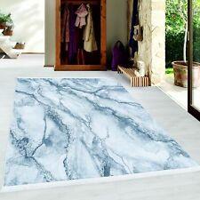 Kurzflor Teppich Wohnzimmerteppich Antirutsch Waschbar Marmor Muster Silber