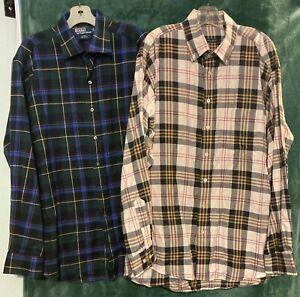 1 Burberry London & 1 POLO Ralph Lauren long sleeve plaid shirt XL