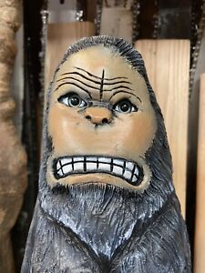 ANGRY BIG FOOT Chainsaw Carving SASQUATCH Statue BLACK WALNUT Wood UNIQUE ART
