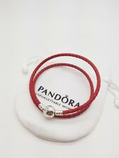 Genuine Sterling Silver PANDORA RED DOUBLE Wrap LEATHER BRACELET 38CM + pouch