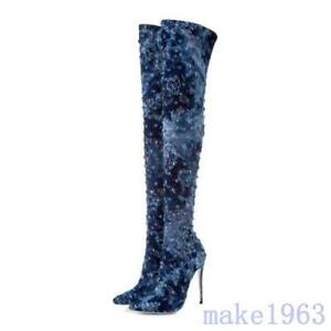 Sexy Women Jean Denim Over Knee High Boots Fur Lining Thigh Long Boots US 4-10.5