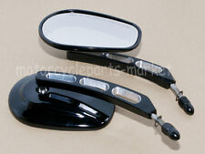 Black Edge Cut Rearview Side Mirrors For Harley Sportster Softail Touring 8mm