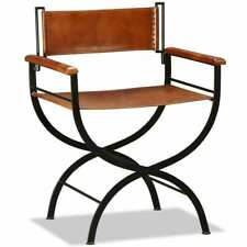 vidaXL Folding Chair Genuine Leather 59x48x77 cm Black and Brown Dining Seat