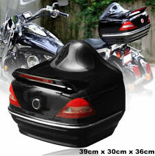 1x Black Glossy Motorcycle Trunk Box with Taillight Brake Turn Light