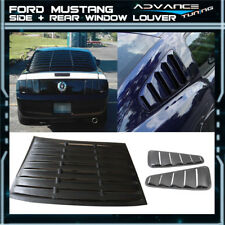 For 10-14 Ford Mustang V6 Rear + Side Pair Window Louvers Black