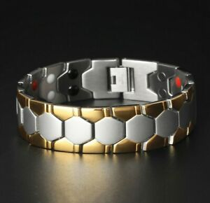 Mens Gold Silver Energy Bracelet Double Strength 4 Elements Magnetic Bio Therapy