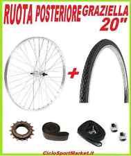"""RUOTA POSTERIORE bici GRAZIELLA 20"""" + PIGNONE + COPERTONE + CAMERA + FLAP + DADI"""