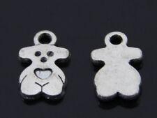 50PCS Little Bear Charm Pendants Antique silver Charms DIY Jewelry Findings 13x7