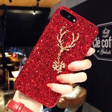 Christmas Luxury Bling Giltter Diamond Elk Case Cover For iPhone 11 Pro Max XR 8