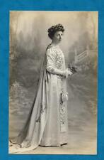 LOVELY 1912 RP PC LADY IN SILK GOWN WITH EMBROIDERED TRAIN AND STOLE