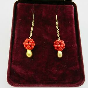 Gorgeous Pair Of  9ct Gold & Coral Cluster Drop Earrings.